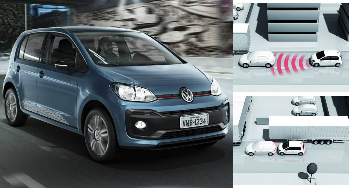 Dez carros que foram depenados no Brasil: O Volkswagen Up! nacional pode até ser mais potente que o europeu na versão TSI, mas o europeu pode parar sozinho(Montagem/Divulgação/Volkswagen)
