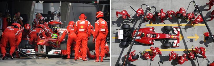 "Figuras 15/16 - ""Pit Stop"" em Fórmula 1"