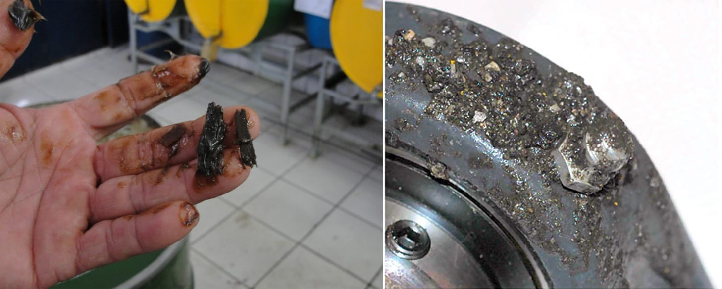 Figuras 1/2 - Material particulado sólido pode contaminar a graxa