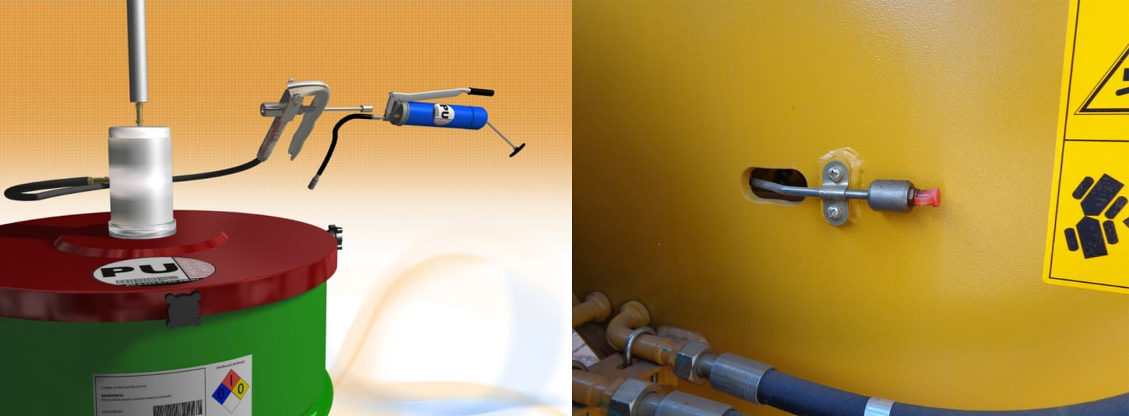 Figuras 5/6 - Sistema pneumático para enchimento de pistolas graxeiras e capa para pino graxeiro: métodos para evitar a contaminação da graxa