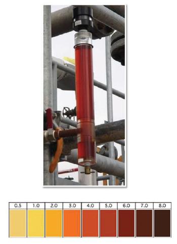 Figura 6 - Utilizar-se carta de comparação de cor em conjunto com medidor de nível tipo coluna é excelente ferramenta para monitoramento
